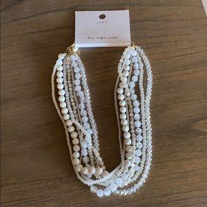 NWT LOFT Multi-Strand White Beaded Necklace NEW!